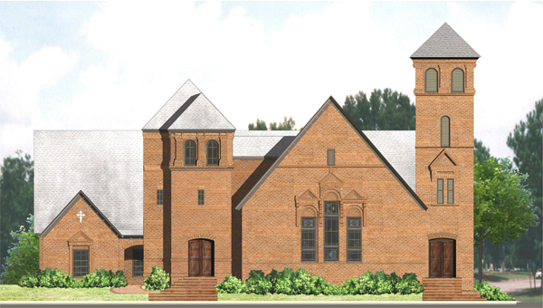 This rendering depicts the additional second tower that will be added to the First Presbyterian Church after the renovation is complete. (Courtesy Photo)