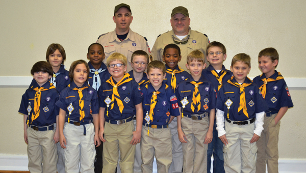 """Pack 45 Wolves and Bears were recently awarded their World Conservation badges. The Scouts collected recyclables and picked up litter along the highway along with other projects in order to earn the badge. The World Conservation badge provides an opportunity for Scouts to """"think globally"""" and """"act locally"""" to preserve and improve the environment. Pictured are, front row from left to right, Andy Lynn, Morgan Cabrera, Landen McClain, Regan McClain, Ty Kendrick and Josh Boatwright. Second  row, from left to right, Austin Cabrera, Javon Carter, Dawson Norris, Jordan Johnson, Jacob Pryor and Ethan Smith. Third row, from left to right, Scout leaders  Greg Kendrick and Mike Earnest. (Submitted Photo)"""