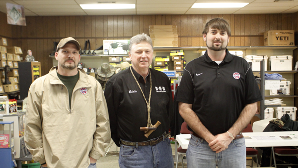 Quality Cooperative in Greenville held a free seminar on Tuesday for area turkey hunters. Pictured are, from left to right, Hunter Royal, two-time world champion turkey caller Eddie Salter and Ryan Williams. (Advocate Staff/April Gregory)