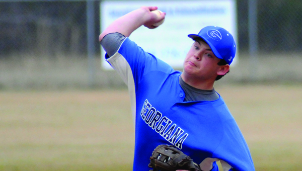 Georgiana School right-hander Matt Sheffield tossed four innings and allowed three hits, two earned runs and walk in a 6-0 loss to Red Level High School Thursday in Georgiana. Sheffield, who struck out five batters, suffered the loss. (Advocate Staff/Andy Brown)