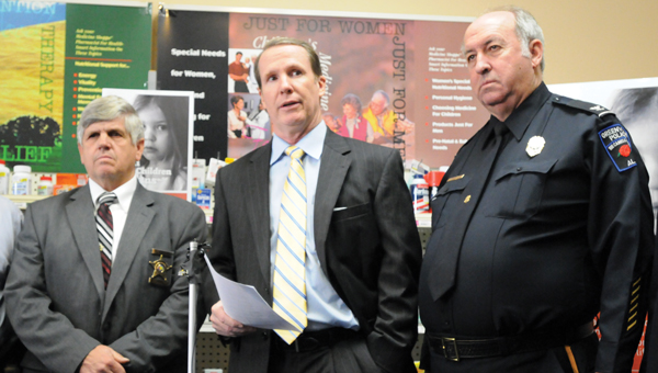 From left to right, Butler County Sheriff Kenny Harden, Rick Heartsill, and Greenville Police Chief Lonzo Ingram were at The Medicine Shoppe Thursday to kick off an anti-smurfing campaign. (Advocate Staff/Andy Brown)