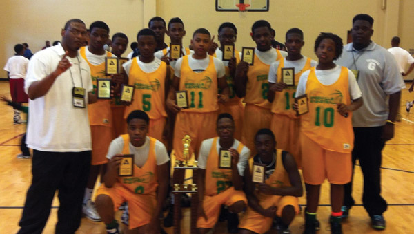 The Greenville 14-and-under All-Stars defeated Mobile 55-53 to win the Alabama Recreation and Parks Association state championship at the Gadsen City Gym. (Submitted Photo)