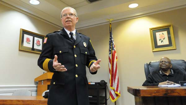 After more than 40 years of service to the Greenville Fire Department, Chief Mike Phillips officially tendered his resignation to the Greenville City Council Monday night. (Advocate Staff/Andy Brown)