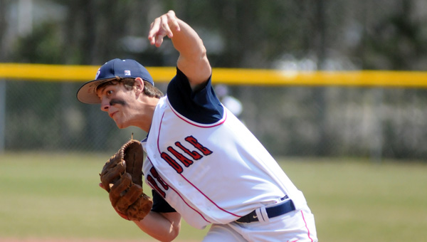 Fort Dale Academy left-hander Ryan Burkett earned a complete game victory over No. 3 Pike Liberal Arts School on Saturday. The FDA sophomore allowed seven hits and two earned runs in the Eagles' 7-3 win. (Advocate Staff/Andy Brown)