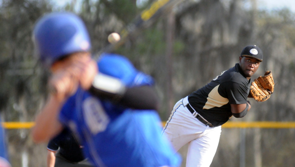 Greenville High School right-hander Ozell Carter allowed seven hits and two walks, while striking out five in a 14-3 loss to Demopolis High School Tuesday at Beeland Park. (Advocate Staff/Andy Brown)
