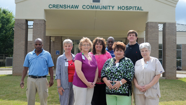 Staff members of the hospital who took a moment to pose for a picture were James Woods, Bonnie Trotter, Sharon Rendelman, Sherri Richburg, Terrance Shepherd, Lynn Spivey, Andrew Locklar and Barbara Williamson.