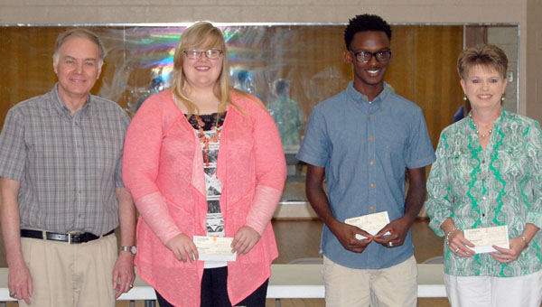The Butler County Retired Educators Association presented three recent graduates with scholarships Tuesday at a luncheon held at Beeland Park. Pictured are, from left to right, Butler County Retired Educators Association Vice President Wayne Boswell, Savanna Scott, Shane Peagler and Charla Odom, who accepted on behalf of Lindsey Odom. (Advocate Staff/Morgan Burkett)