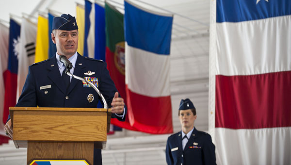 Col. Richard H. Boutwell, 99th Air Base Wing commander, accepted command of the wing during a ceremony held at the Thunderbird hangar on Nellis Air Force Base in Nevada June 27. (Photo courtesy of Airman 1st Class Thomas Spangler)