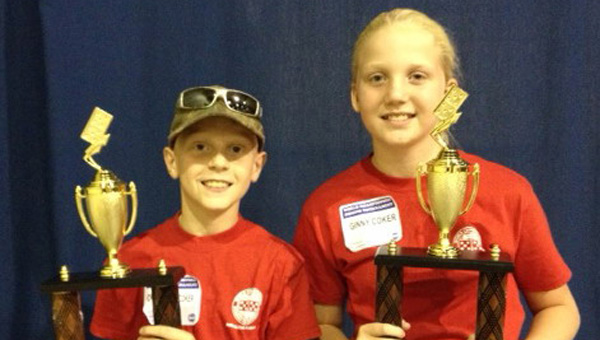 Georgiana's Ginny and Charleston Coker took first place in the children's doubles division of the 39th Annual World Championship Domino Tournament in Andalusia. (Courtesy Photo)