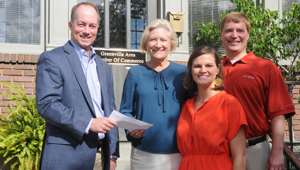 Rod Cater, Greenville business office manager for Alabama Power Company, presents Greenville Area Chamber of Commerce Director Francine Wasden, Operation Coordinator Laura Sadowski and Chamber President Payne Meadows with a $2,000 check as part of the Alabama Power Foundation's Gateway grant program. (Advocate Staff/Tracy Salter)