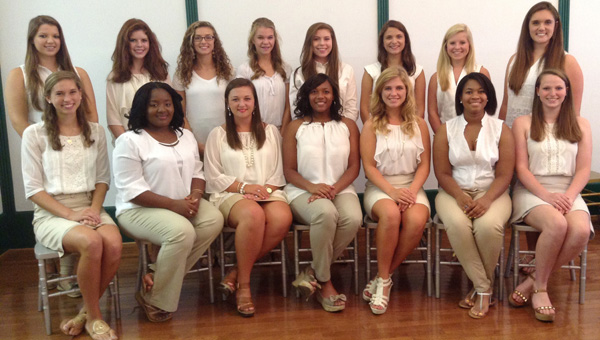 Eight young women will compete Saturday for the title of Butler County's Distinguished Young Woman. The competition will be held at 7 p.m. at the historic Ritz Theatre in downtown Greenville. The doors to the theater will open at 6:30 p.m. Contestants include, seated from left to right, Ashton Scott, Paige Campbell, Holland Steadham, Kennadee Smith, Cailyn Thompson, Naareh Cooke and Kathryn McGowin. Not pictured is Tamara McClain. Little Sisters include, standing from left to right, Kathryn Crocker, Sellers Swann, Danielle Tyus, Jessica Little, Hannah Miller, Emily Wells, AnJoy Castleberry and Cheyenne Kilpatrick. Not pictured are Lynn Choi and Kendall Hayes. (Courtesy Photo)