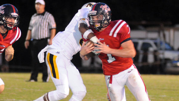 Fort Dale Academy senior Sawyer Kendrick rushed for a team-best 82 yards on 14 carries in the Eagles' 47-7 loss to No. 10 Autauga Academy Friday night. (Advocate Staff/Andy Brown)