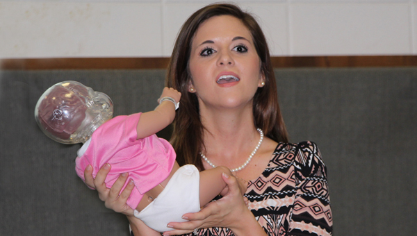 """LBW Community College students in Andalusia recently learned about a preventable tragedy as Susan Lowman, child abuse and neglect prevention coordinator with Healthy Kids, a nonprofit organization based in Butler County, presented """"Shaken Baby Syndrome"""" to combined psychology classes. (Submitted Photo)"""