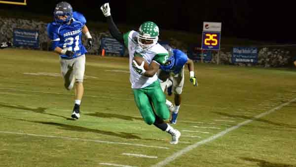 CONTRIBUTED PHOTO   CINDY JORDAN  Brantley's Corey Foster sticks inside the line as he makes his way to the end zone Friday at Highland Home School.