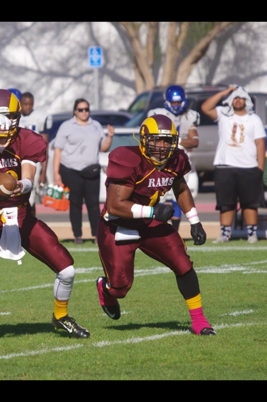 2013 GHS graduate Cornelius Ball moved from the middle linebacker position to running back wit the Victor Valley Rams, where he's found unexpected success.
