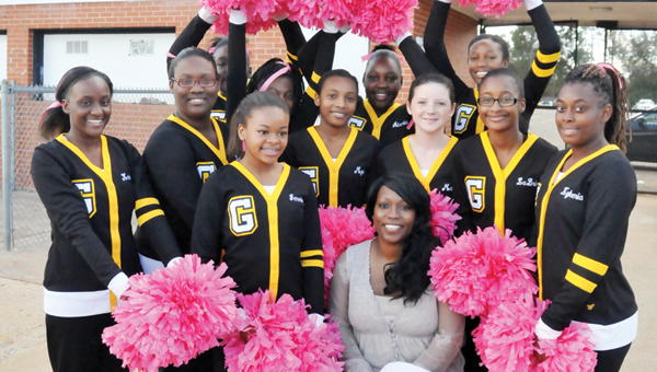 Irby with cheerleaders 4 web