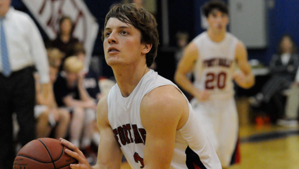 Ryan Burkett sank more than a couple of clutch three pointers to extend Fort Dale's lead to as many as 17 Tuesday night in the varsity boys' win over Pike Liberal Arts.