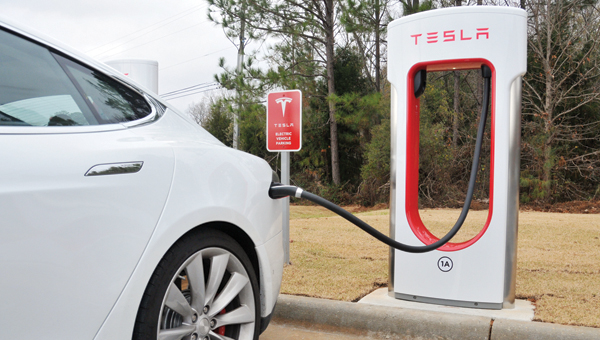 ADVOCATE STAFF / ANDREW GARNER |  Six Tesla Model S charging stations are located behind the Hampton Inn in Greenville. This is the first charging station in the state of Alabama.