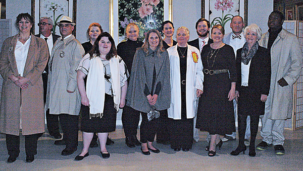 """COURTESY OF ANGIE LONG The cast of  kooky spy spoof """"Dirk Smirk, Secret Agent"""" included (back row, left to right) Jimmy Ansley, Jeff Blackmon, Amber Olney , Johnna Pitts, Stacy Sellers Davis, Will Smith, Dent Neilson and Jamaul Galloway. (Front row) Rebecca Mosley, Cierra Oswald, Amber Newton, Robin Moody, Lori Neilson and Earline Johnson (not pictured-Willie Nell Johnson). Mollie Smith Waters  directed the comedy with husband-and-wife team, Greig and Harriett Foshee providing sound effects and music for the show.   Courtesy Photo    Angie Long"""