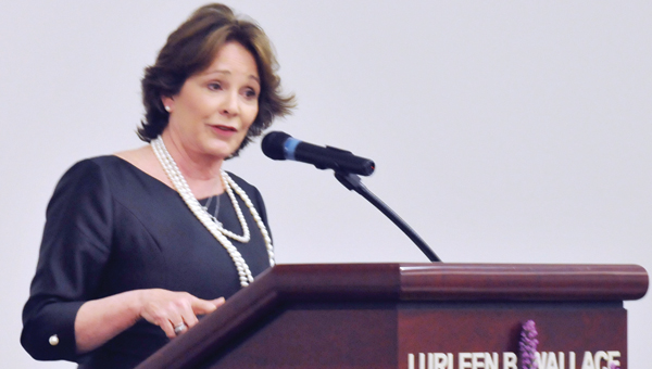 """Patricia """"Sister Schubert"""" Barnes gave the address Thursday night at the Greenville Area Chamber of Commerce's Member Banquet. 