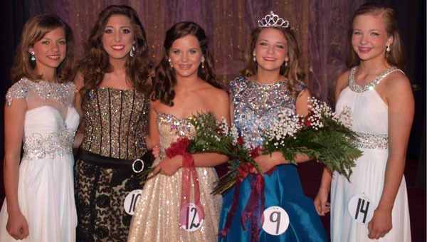 The Junior High Miss FDA's top five are (left to right) Alexandra Peyton Little, Caroline Wood, first runner-up and Miss Congeniality Mary Avery Keen, Junior Miss FDA 2015 Hannah Marie Jayroe and Mary Katherine Salter.