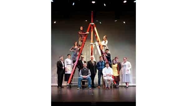 "CONTRIBUTED PHOTO Included in LBW Community College's cast for ""Our Town"" are, ascending the ladder, Kyle Hartline of Pleasant Home; Maggie Holmes, Straughn; Emily Hammett, Straughn; Tyler Peacock, Andalusia; descending, Courtney Fussell and Tucker Myrick, both of Straughn; and left to right, Jameson Holmes, Straughn; Eric Lidh, director; Austin Harrington, Pleasant Home; Danielle Culpepper, Luverne; Brady Walker, Opp; Courtney Slaughter, Pleasant Home; seated, Fuller Myrick, Straughn; Austin Hudson, Luverne."