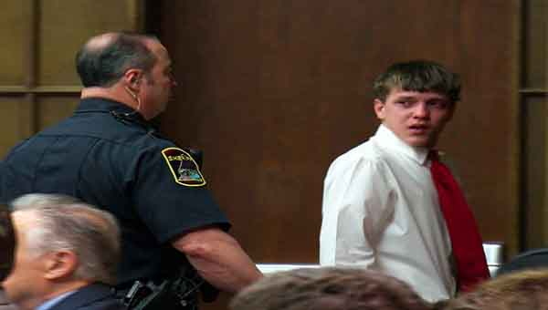 Jacob Allison, 16, is taken into custody Monday morning, after a Tennessee judge revoked his bond. CONTRIBUTED PHOTO   WTVC