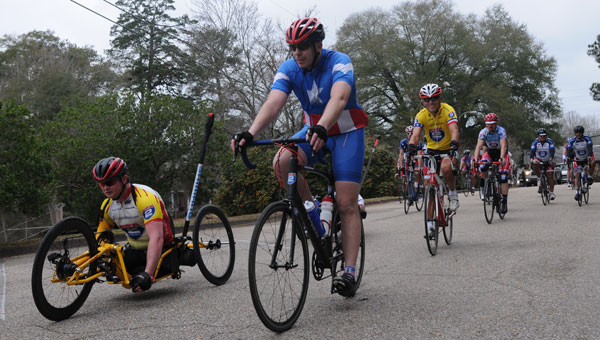 More than 100 injured and disabled veteran cyclists poured into the Camellia City Monday on their way to New Orleans during the 470-mile Ride 2 Recovery event.