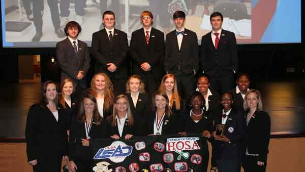 The local HOSA chapter sent several delegates to the state convention and competition. Pictured are, on the bottom row, Cassidy Catrett, Haeden Helms, Taylor Stewart,  Abbi Sanders, Ascia Brown, Kaitlin Galloway and Becky Cornelius. In the middle row, are Layken Sanders, Bailey Wilson, Megan Hudson, Kelly Morgan, Za'Keyia Bell and Kai Campbell. At the top are Cameron Haws, Greg McDougald, Josh Hermeling, Jace Baines and Max McDougald.