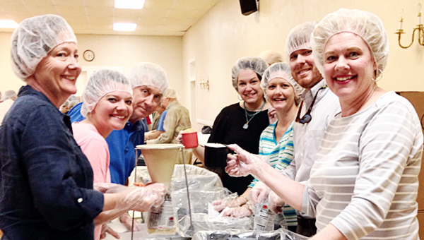 Volunteers at First United Methodist Church packaged 10,800 meals Wednesday night at a packing event for Stop Hunger Now. (Courtesy Photo)