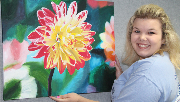 """Taylor Joyner of Greenville wins """"Best of Show"""" with acrylic painting """"Essence of Spring."""" (Courtesy Photo)"""