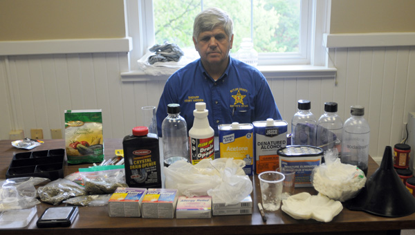 After searching A Pensacola man's vehicle following a traffic stop, authorities discovered 67 grams of spice or synthetic marijuana, methamphetamine, ingredients for producing methamphetamine and other drug paraphernalia. Pictured is Butler County Sheriff Kenny Harden. (Advocate Staff/Andy Brown)