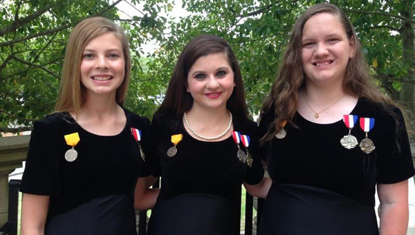 Pictured, from left to right, are Xada Ingram, Meagan Edgar and Mary Madison Crenshaw. (Courtesy Photo)