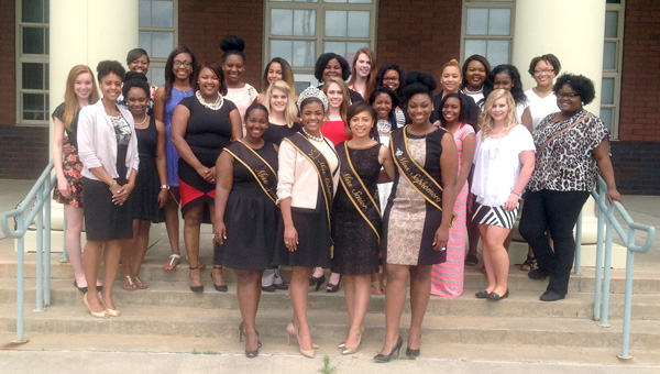 """Miss ASU and her court visited the Greenville High School senior class girls on April 15 and shared about """"Life After High School."""" The queen and her court also shared their personal experiences on transitioning from high school to college.  On the 2014-2015 ASU court is GHS graduate Jasmine Truitt. Pictured are, front row from left to right, Miss Junior Toniziun Ball, Miss Alabama State University Taylor Edwards, Miss Senior Jasmine Truitt, and Miss Sophomore Anastacia Davis. Second row, Andrea Carlyon, Lizzie Marlow, event coordinator, Jazzmine Cook, Shiluv Bedgood, Kirsten Jordan, Faleena Prater, Angel Isaac, Deleccia Howard, Aubrey, Buck and Dayzhia Morrison. Third row, Sa'Corya Murphy Jasmine Pressley, Mia Taylor. Alexis Landrum, Tamara McClain, Kathryn Braden, Justice Lewis, Angela Santiago, Quinshallia Robinson, QuDiamond Harris and Talia Lewis. Not pictured, Miss Freshman Grace Burns and Latoria Howard. (Submitted Photo)"""