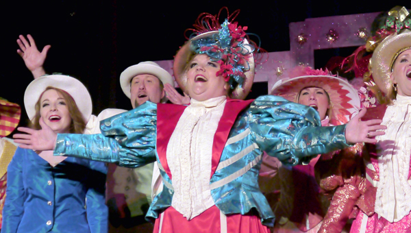 """Christina Rodgers, Kevin Pearcey, Sandy Rodgers and Vicki Russell take center stage during the jubilant finale of """"Before the Parade Passes By"""" from the musical """"Hello, Dolly"""" during Thursday night's performance of the Ritz Players' """"It's Broadway, Baby!"""" (Photo by Angie Long)"""