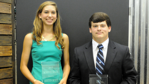 Fort Dale Academy's Ashton Scott and Georgiana School's Matthew Sheffield were presented the 2015 Achiever Awards during a banquet on Thursday night at First Baptist Church. (Advocate Staff/Andy Brown)