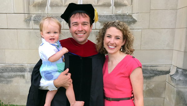 David R. Saliba, pastor of First United Methodist Church in Greenville graduated on Monday at the Washington National Cathedral with a Doctoral Degree of Ministry from Wesley Theological Seminary in Washington, D.C.  He is pictured with his wife, Elizabeth, and their son, Joseph. (Courtesy Photo)