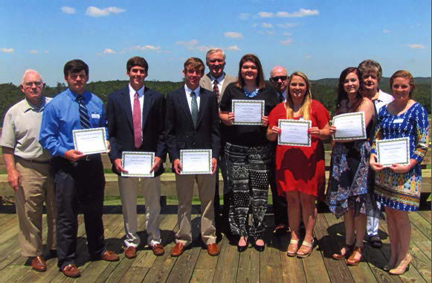 The Butler County Farmers Federation awarded seven scholarships to county students on April 30. Pictured, from left to right, are Carey Thompson, Matthew Sheffield, Tyler Gibson, Price Jones, Percy Thompson, Caitlin Wright, Dwight Vickery, Erin Odom, Channing McIntyre, Suzie Snow and Ashley Ballard. (Submitted Photo)