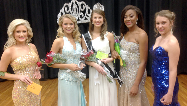 Courtney Neese, the daughter of David and Jenny Neese, was crowned Miss Greenville High School Saturday night at the GHS Auditorium. Pictured, from left to right, are Caitlyn Tilley; Alyssa Lear, second runner-up; Neese; Jasmine Pressley, first runner-up; and Rhiya Daniel.  (Photo courtesy of Allen Stephenson)