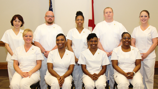 LBW Community College in Greenville recently held a pinning ceremony for Associate Degree Nursing graduates. Pictured are, front row from left, Jerinda L. Bush of Red Level, class president; Porchia S. Jones of Montgomery, class vice president; Latrista N. Smith, Georgiana, class secretary; Rotasha L. Heard, Selma, class chaplain; second row, Eunju Lim, Montgomery, formerly of South Korea; Jeremy W. Roberts, Montgomery; Cytonya Stovall, Montgomery, class chaplain; Jacob Wetherbee and Kasi M. Jordan, both of Luverne. (Courtesy Photo)