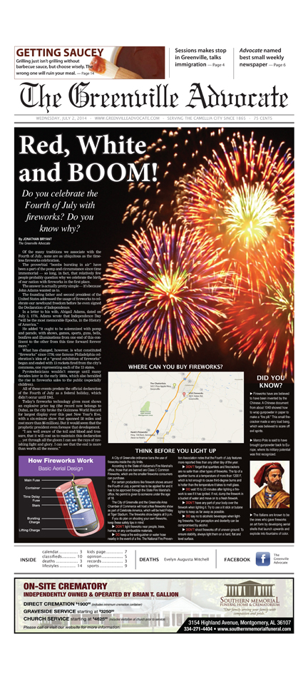 The Greenville Advocate won second place for Best use of graphics or illustrations  for its front page design detailing why we use fireworks to celebrate the Fourth of July.