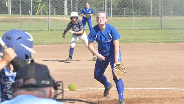 Highland Home's Katelyn Sport pitches the team's final game in Troy. JOURNAL PHOTO | MONA MOORE