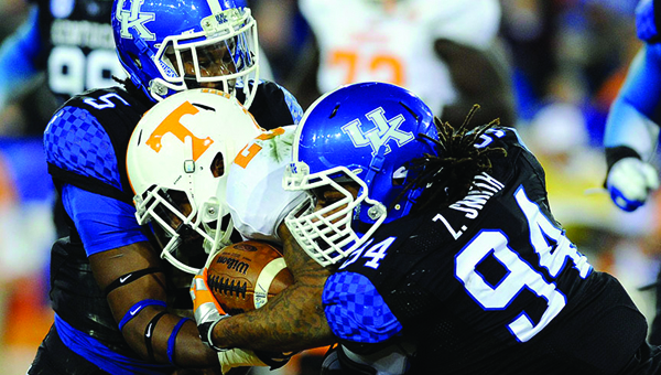 Former Greenville High School standout Za'Darius Smith (94) was drafted with the 122nd overall pick by the Baltimore Ravens in the 2015 NFL Draft. (Photo Courtesy of the University of  Kentucky)