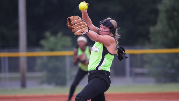 Kaitlyn Padgett winds up for a pitch in a down-to-the-wire contest against the Opp Dixie Belles.