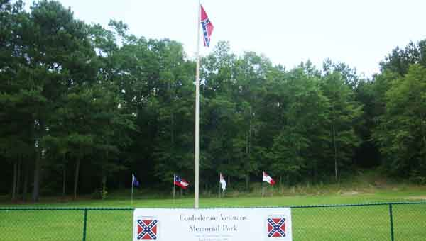 Flags wave in the new Confederate Veterans Memorial Park on Hwy. 331, south of Luverne. CONTRIBUTED PHOTO