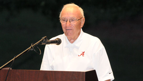 Veteran University of Alabama referee Eddie Conyers delivered an amusing and encouraging message to the members of the Butler County chapter of the University of Alabama Alumni Association Wednesday.