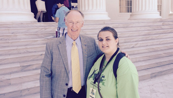 Alexandria Rodgers, a recent graduate of McKenzie School, met Gov. Robert Bentley during the 2015 Alabama Governor's Youth Leadership Forum. (Submitted Photo)