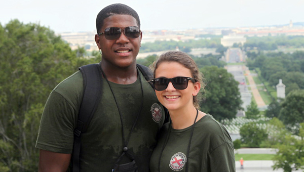 Aderick Moore, left, and Emiley Wells, right, were sponsored by Pioneer Electric Cooperative to take part in the Washington D.C. Youth Tour. (Submitted Photo)