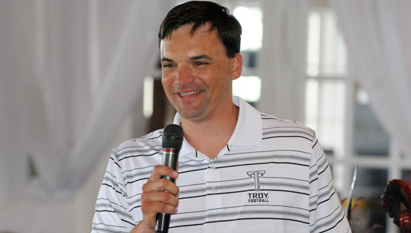 Neal Brown, Troy University's new head football coach, headlined this year's Trojan Tour event Monday afternoon at Cambrian Ridge.
