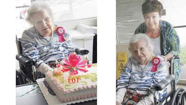 JAINE TREADWELL | BNI NEWS SERVICES Velma Folmar Hightower, a Goshen native, celebrated her 103rd birthday Wednesday. Her daughter, Charlotte Goeters of Houston, Texas., other family members and friends hosted a part in her honor at the nursing home in Luverne.